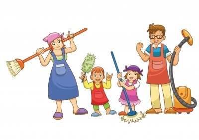 Cartoon-cartoon-people-family-clothes-cleaning-mop-broom-children-parents1